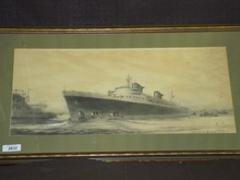 Original Pencil Ocean Liner Drawing Illustration