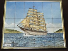Hand Painted Ship Painting on Tiles