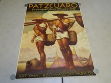 Original Mexico Rail Travel Poster Patzcuaro.