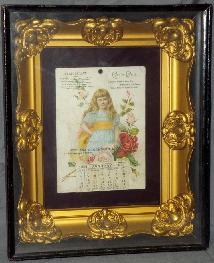 Coca Cola Calendar. 1891 Possibly one of a Kind.