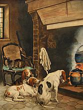 Charles Olivier De Penne Hounds before Fireplace