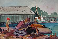 Mildred Valley Thornton Working on his Boat