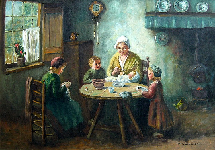 Cornelius Bouter Family Seated around Meal Table
