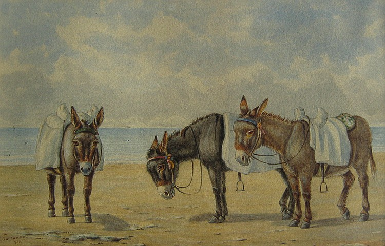 Edward Garraway Donkeys Waiting on Beach; Donkeys Tethered on Beach