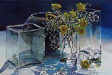 Kiff Holland Still Life with Yellow Roses & Glass Vases