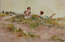 Thomas Paterson Two Girls Relaxing on Sand Dunes