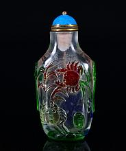 A RED-BLUE-GREEN OVERLAY GLASS SNUFF BOTTLE