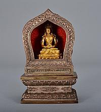 A GILT BRONZE AMITAYUS AND BUDDHIST SHRINE