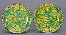A PAIR OF YELLOW-GROUND-GREEN-GLAZED DRAGON DISHES