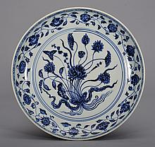 A BLUE AND WHITE LOTUS DISH
