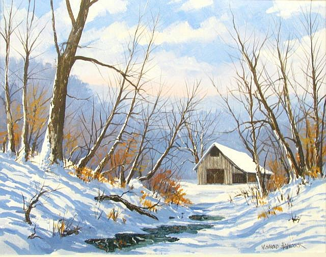 WH Hancock 22 x 28 O/C Farm in Winter