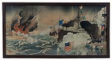 Jap. triptych woodblock, battle scene w/ ships