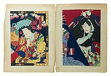 Four woodblock prints by Toyohara Kunichika