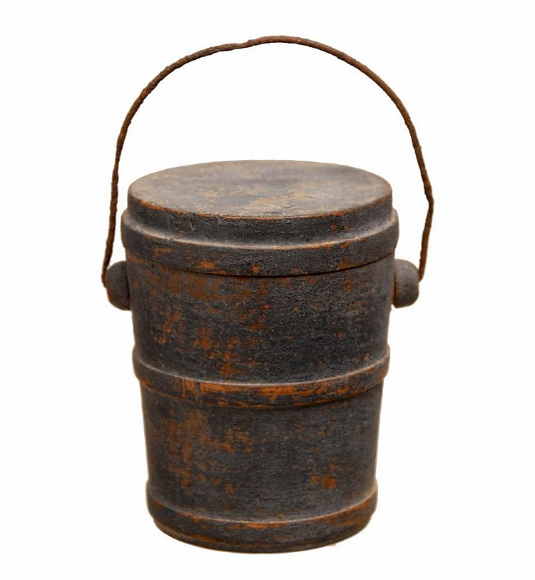 FIRKIN AND LIDDED BARREL