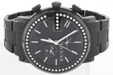 Gucci-Mens-YA101340-G-Chrono-Black PVD-With-Diamond-Case Watch-BOX-Paper-7 WA5253