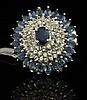 10.24ctw Sapphire Silver Ring K96J5