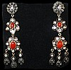0.92ct Coral&Diamond Silver & Gold Earrings W2801
