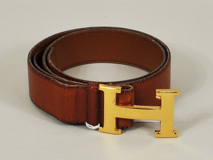 Classic Hermes Gilt Buckle Brown Belt