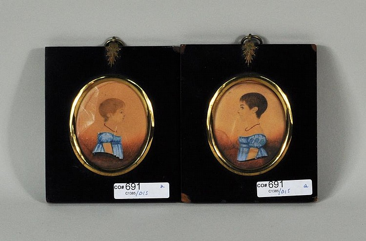 Pair Framed Watercolor Portrait Miniatures