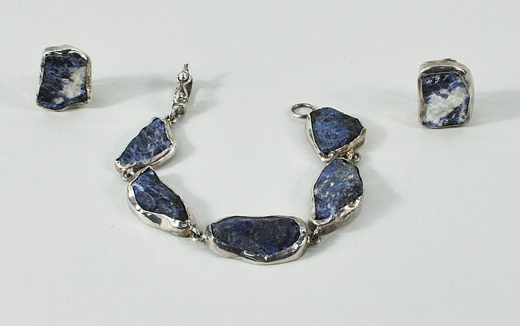 Silver (950) & Lapis Bracelet and Earrings