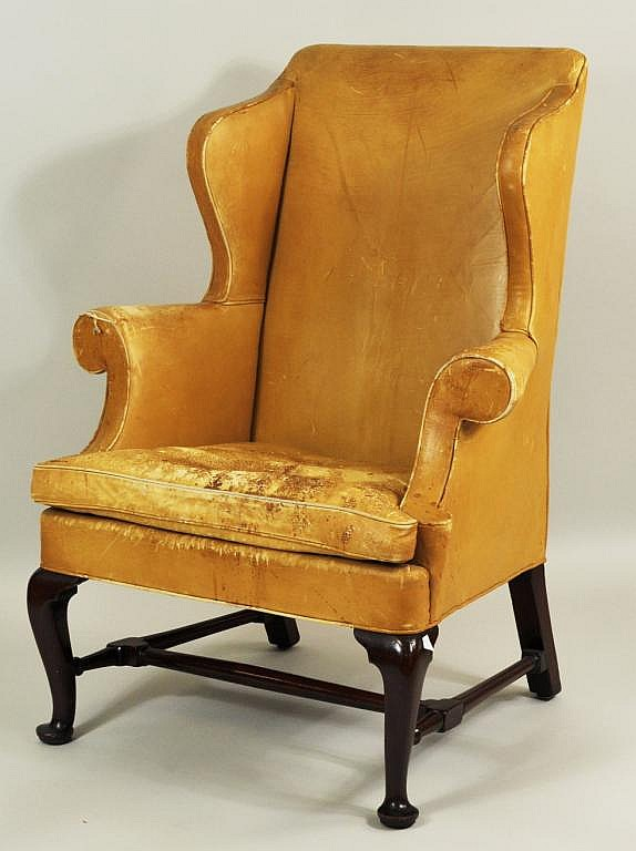 Queen Anne Walnut Leather Upholstered Wing Chair