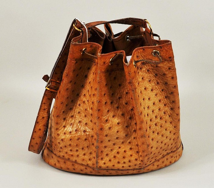 Vintage Hermes Ostrich Drawstring Handbag