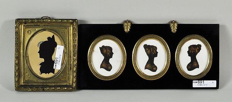 Two English Silhouettes, Framed Trio