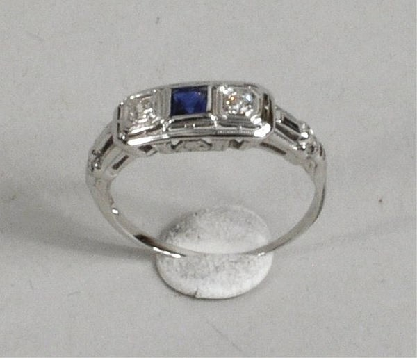 Platinum, Diamond & Blue Stone Ring