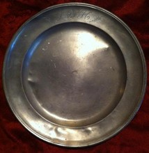 Antique 1830's Pewter Plate, marked