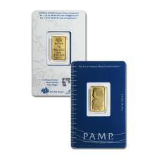 5 gram Pamp Suisse Gold Bar .9999 Fine Gold in Assay