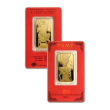 1oz Pamp Suisse Year of the Horse Gold Bar in Assay - .9999 Fine Gold