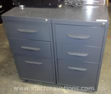 (4) Three Drawer Portable File Cabinets