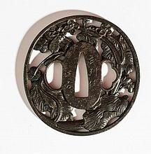MASAKATA: TSUBA WITH FLOWERS AND FOLIAGE