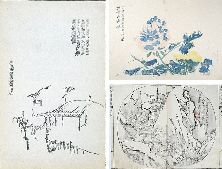 THREE ORIGINAL WOODBLOCK PRINTS FROM THE MUSTARD SEED GARDEN